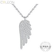 Coleon Pendant 925 Sterling Silver Necklace Luxury Angel Wing Zircon Gemstones Women Wedding Bridal Statement Jewelry Gift