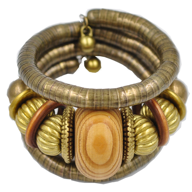 African Ethnic style Color ball Vintage Curved Stretch Cuff Bracelets Bangles Retro Snake Bracelet Women Classic Jewelry Gift