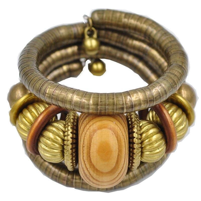 De estilo africano étnico bola de Color Vintage curva Stretch Cuff pulseras brazaletes Retro pulsera de serpiente mujeres clásico regalo de la joyería