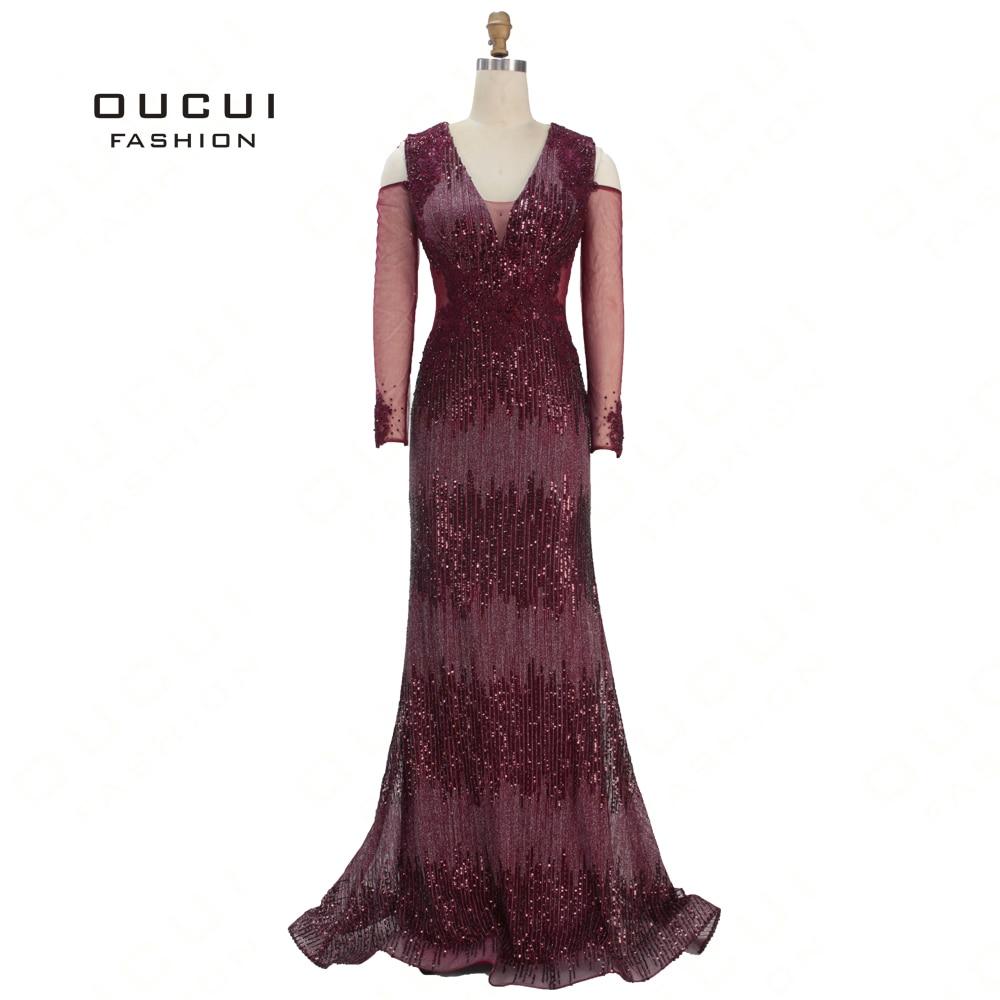Dark Red Formal Long   Prom     Dresses   V-Neck Full Sleeve Bading Tulle Sequined Evening Gowns 2019 Party   Dress   For Women OL103350