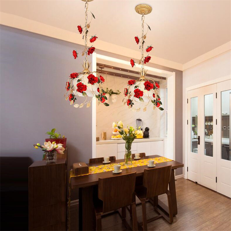 Red Rose Dining Room Light Fixture Clear Glass,Single Brass LED Pendant Lamp Kitchen Island Tabletop Cafe Dining Room Lighting
