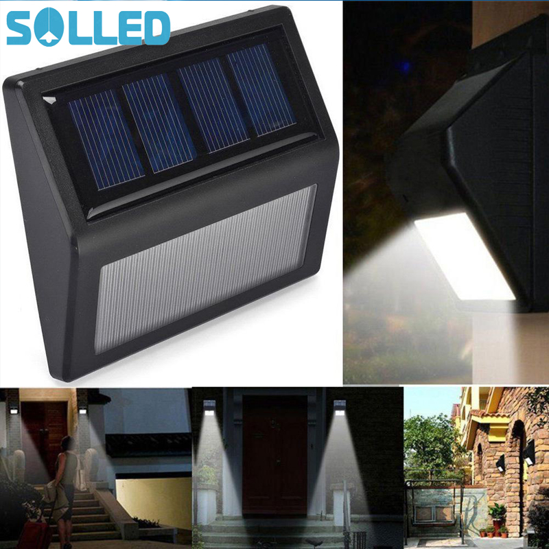SOLLED Outdoor Solar Powered Light Waterproof Light-Sensor 6 Beads LED Lamp for Stairs Staircase Wall Steps Corridor Garden