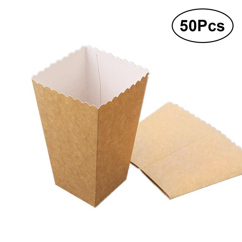 50pcs Popcorn Box Durable Practical Cardboard Multi-function Solid Box for Candy Dry Fruit Food
