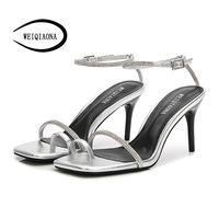 Summer New 2018 sexy Square Open Toe High Heel Rhinestone Sandals Women for Shoes Slippers Clip Toes party shoes beach shoes