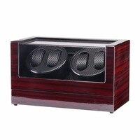 Use 110 240 v ac/dc adaptador de madeira brilhante 4 grades assista winder box para relógios loja display girar caixa do relógio caixão automático|Caixas de relógio| |  -
