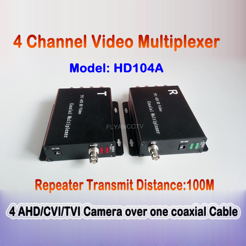 4 Channel AHD/CVI/TVI Camera Video Multiplexer Over One Coaxial Cable Connect 4 CCTV 1080P 720P HD Analog Cameras Repeater 100M voxlink ahd tvi cvi video converter full hd 1080p tvi cvi ahd signal to cvbs vga hdmi hd video converter for cctv cameras