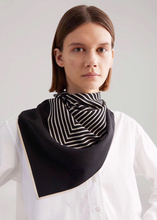 Black White Striped Bandana Scarf Women 100% Pure Twill Silk Square Headband Hairband 90*90cm