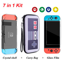 Yoteen Nintendo Switch Accessories Kits Travel Carrying Bag & Tempered Glass Film Crystal Hard Case 4 Analog Caps