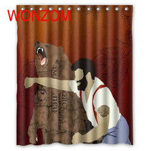 WONZOM Bear Shower Bathroom Waterproof Accessories Curtains For Decor Modern 3D Polyester Animal Bath Curtain with 12 Hooks