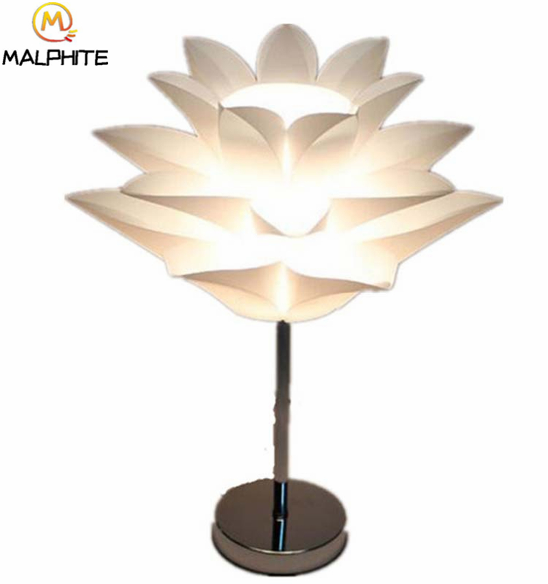 Nordic PVC Table Lamp Modern Simple Lotus Lamps Table Bedroom Bedside Dimming Table Light Cafe Bar Decor Lighting Luminaires in LED Table Lamps from Lights Lighting