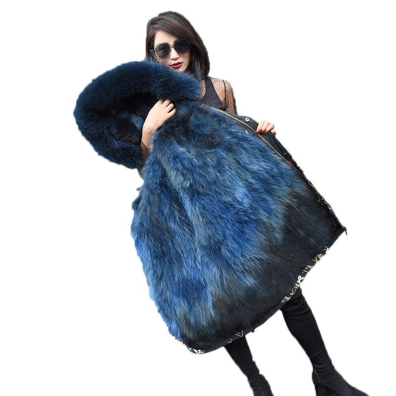 Hiver Femmes De Mode Vraie Fourrure Parka À Capuche Femelle Plus La Taille 3XL Réel Raton Laveur Chien Manteau De Fourrure Dames Lâche Veste Chaude survêtement G11