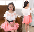 2016 Summer Dresses Child Teenages Casual Party Cloth Princess Chiffon Dress Teenage Girls Casual Clothing Kids Dress for Belt