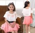 2016 Vestidos de Verão Criança Teenages Pano Princesa Chiffon Vestido de Festa Casual Adolescente Meninas Roupas Casuais Crianças Se Vestem para o Cinto