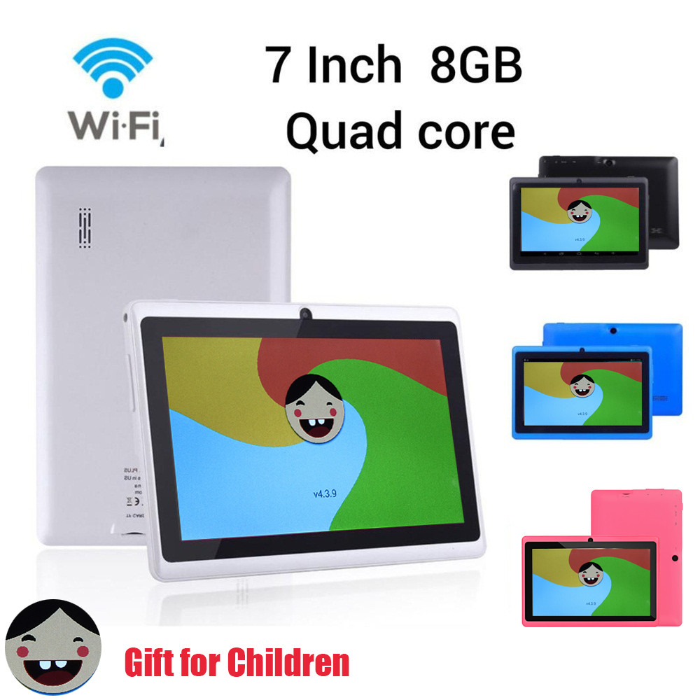 HIPERDEAL Q880 lecteur MP4 7 pouces Google Android 4.4 Quad Core tablette PC 512 M + 8 GB double caméra étude App pour enfants cadeau YY23