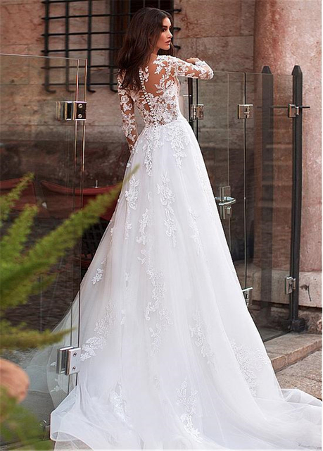 Attractive Tulle Jewel Neckline See-through Bodice A-line Wedding Dress With Lace Appliques & Beadings Long Sleeves Bridal Dress 4