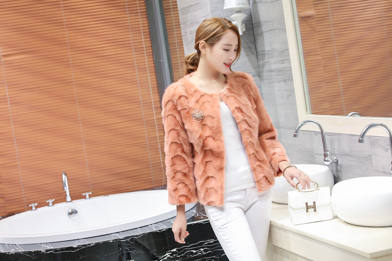 2018 womens nieuwe korte pieces mink bontjas Koreaanse nerts jas vrouwelijke jas jassen bovenkleding winter mode kleding D16-in Echt Bont van Dames Kleding op  Groep 2