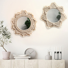 Diameter 40CM boho Macrame hand-woven simple home hang - up living room wall hanging decorations decorative mirror tapestry