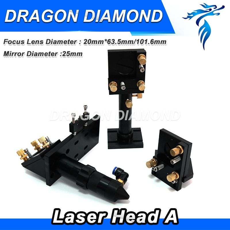 CO2 Laser Head Set / Mirror 25mm and Focus Lens 63.5mm Integrative Mount Houlder for Laser Engraving Cutting Machine economic al case of 1064nm fiber laser machine parts for laser machine beam combiner mirror mount light path system