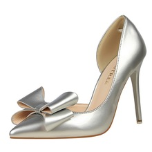 Dress Pumps Women Butterfly-knot Patent Leather Sexy Heels Bigtree Shoes Stiletto Extreme High Heel Wedding Shoes Bride G0003 недорого