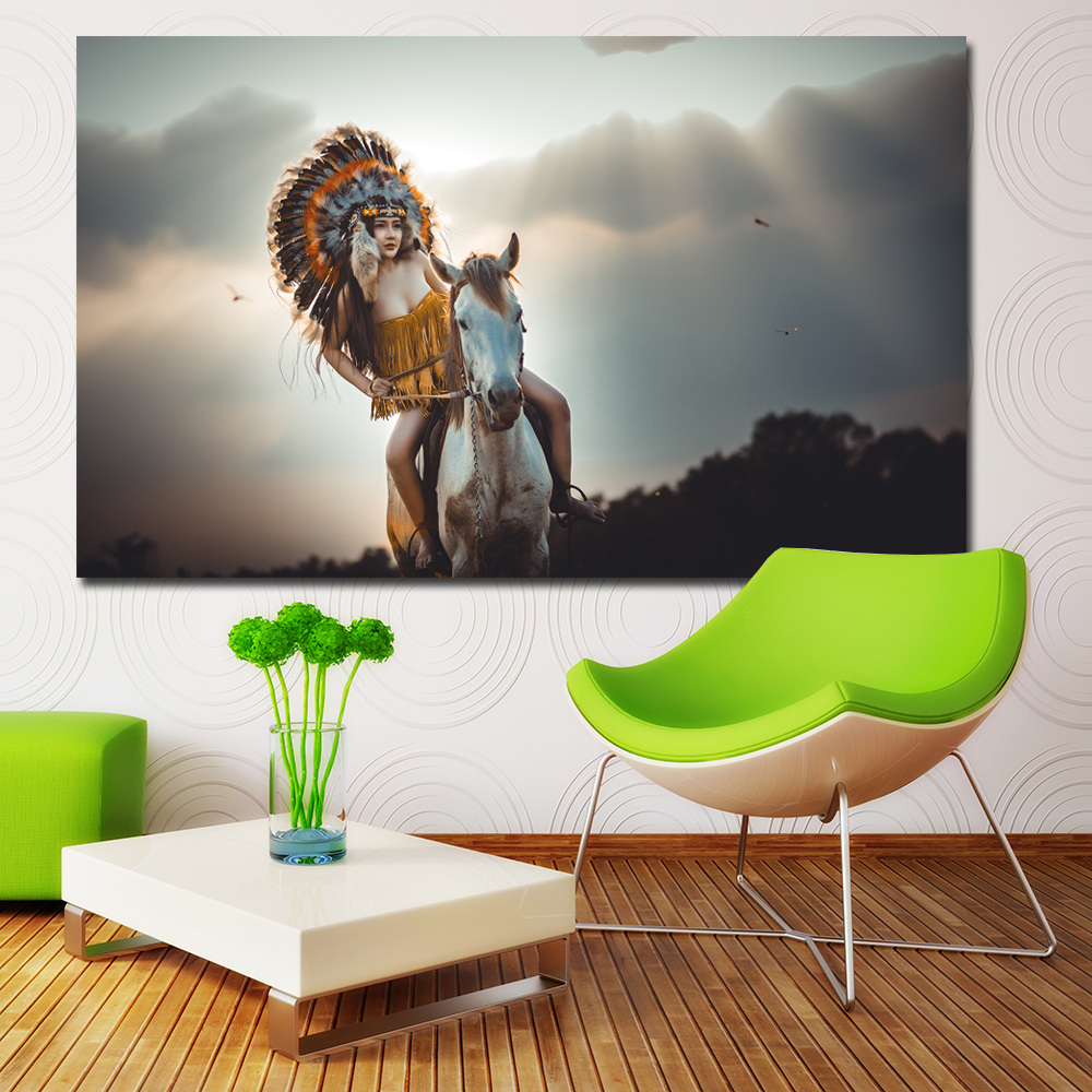 HD Prints American Native Indians Girl Riding Horse Canvas Painting Wall Art Printing Posters Wall Pictures For Living Room