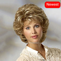 Highlight short  Blonde wig  Pelucas Pelo natural short hair wigs for women realistic Perruque cheveux synthetic celebrity wig