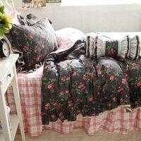 Nuevo sistema del lecho de la colmena Occidental rosa funda nórdica hoja de cama colcha de cama de princesa falda a cuadros clásicos sin edredón