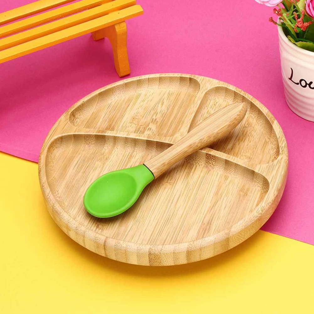 Feeding Baby Tableware Set Non Slip Suction Bowl Children Bamboo Food Removable Training Heat Insulation Dinner Matching Spoon