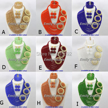 Charming African Beads Jewelry Set More Colors Nigerian Wedding Crystal Beads Jewelry Set Wholesale Free Shipping AES498