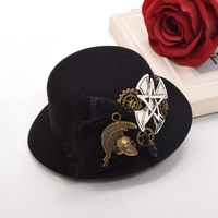 1pc Women Vintage Victorian Steampunk Hair Accessory Gothic Gears Cross Black Top Hat Style Hair Clip