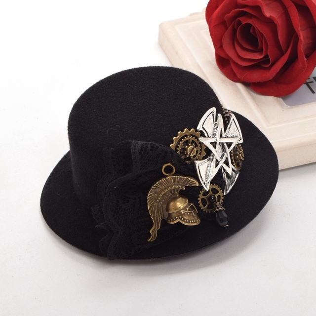 a2213ff0e7269 1pc Women Vintage Victorian Steampunk Hair Accessory Gothic Gear Cross  Black Top Hat Style Hair Clip