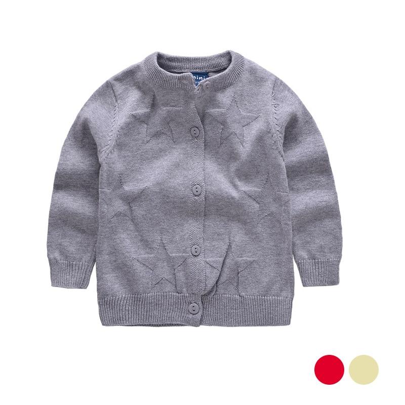 Star Print Girls Sweater Zacht katoenen dunne vestjas Lange mouw - Kinderkleding
