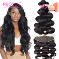 Lace Frontal With Bundles 13*4 Ear To Ear Lace Frontal Closure With Bundles 8A Peruvian Virgin Hair Bundles With Frontal