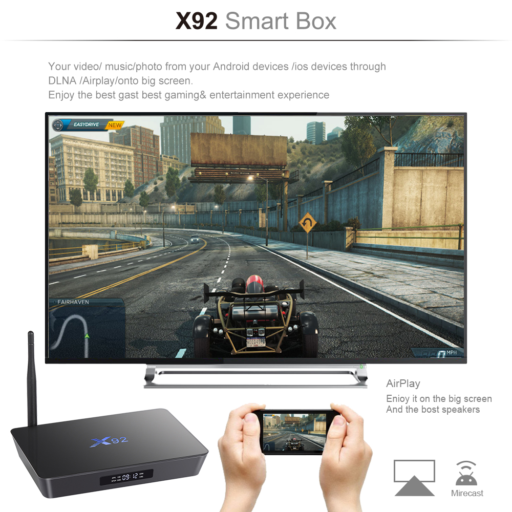 [Orijinal] X92 2GB / 3GB 16GB / 32GB Android 7.1 TV Box Amlogic S912 - Evdə audio və video - Fotoqrafiya 4