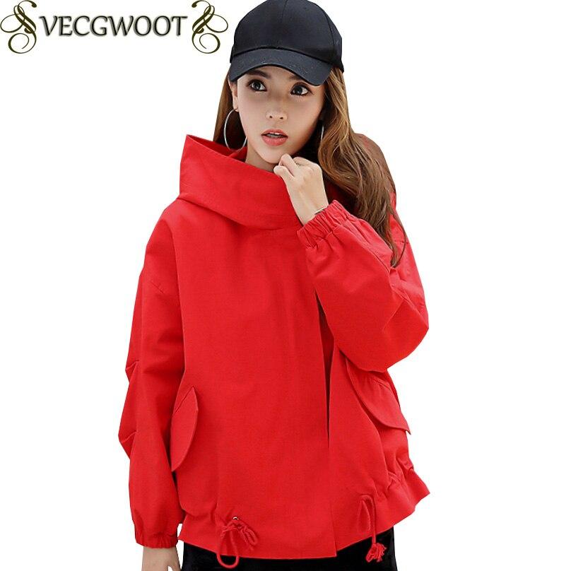 Skin Grande Taille Red X1274 red Manches Femmes Solide Nouveau Couleur Longues automne Survêtement Veste Courte Femelle Capuche Lâche Speing caramel À qwUvTHfP