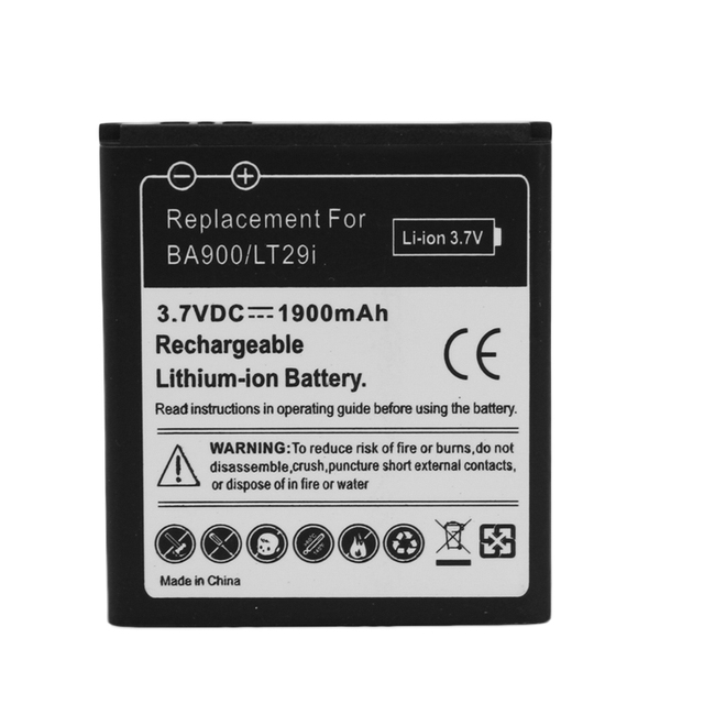 For Sony BA900 3.7V 1900mAH Mobile Phone Replacement Battery For Sony Ericsson XperiJ GX TX ST26i LT29i Phone Commercial Bateria