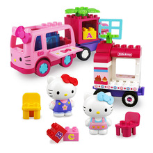 DIY Colorful Hello Kitty Music Particle Building Blocks Castle Educational Toy Girl Kids Model Marvel Compatible Gift