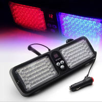 12 Modes 86 LED Emergency Warning Car Auto Visor Police Strobe Light Blue Red