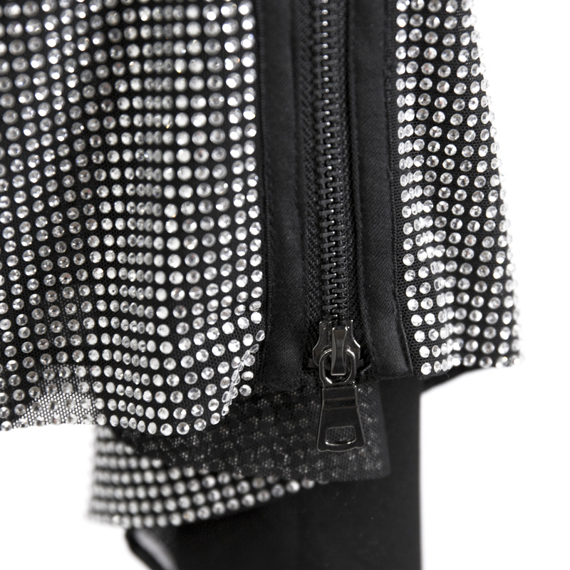 Mujeres Las Diamante De Getsring Falda Alta Retro Cintura Moda Nuevo Primavera Faldas Irregular Black Todo Encuentro Cremallera Mini 2019 4EqtBnBw