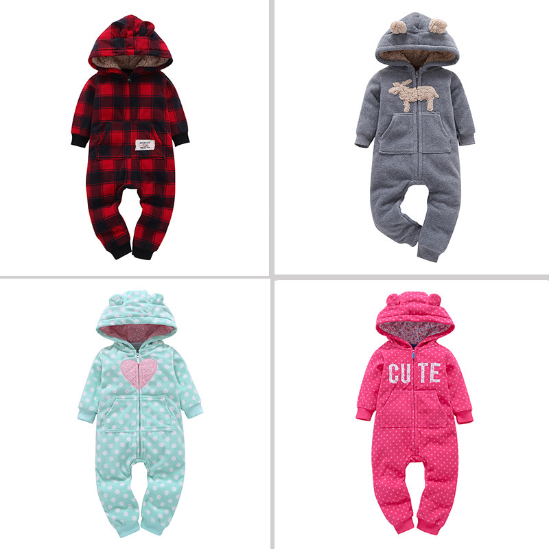 2018 NEW !! Infant baby romper / Winter outfits / black and red grid / Cute letter / Polka dot