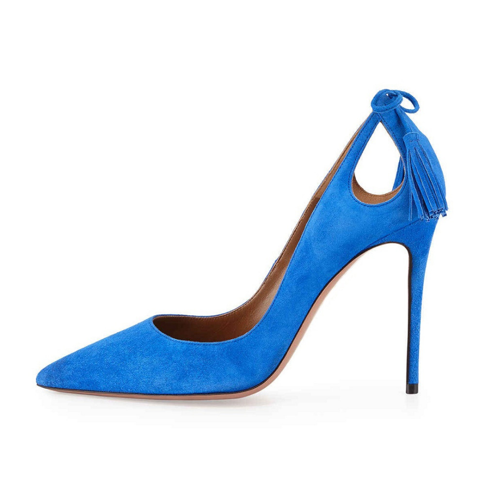 Amourplato Women s Pointed Toe Stiletto High Heel Pumps with Elegent Tassels Cut Out Style for