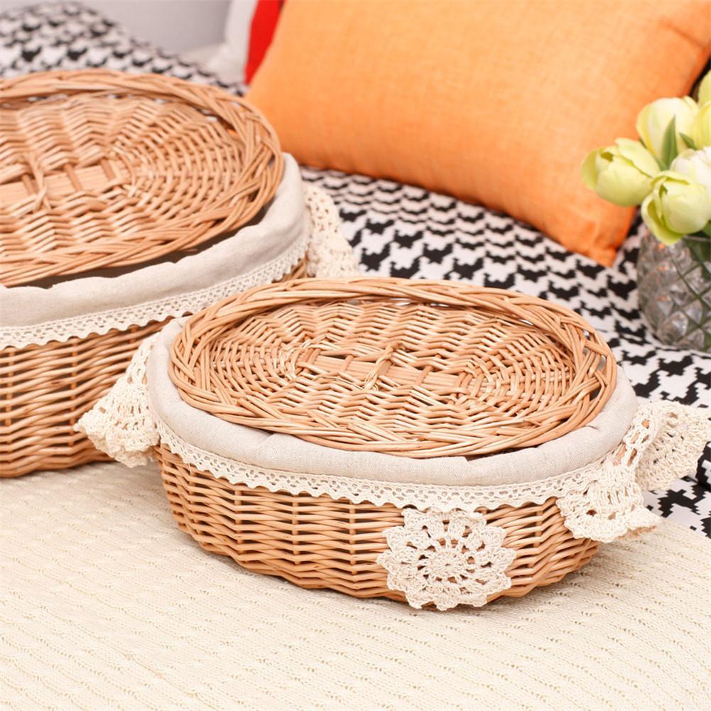 Wicker Rattan Storage Basket Large With Lid Snack Basket