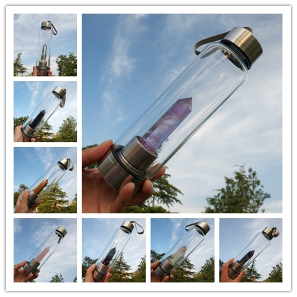 Neue Produkt Alle Arten Von Natürlichen Quarz Edelstein Kristall Glas Elixir Wasser Flasche Punkt Mit Kristall Stab Heil