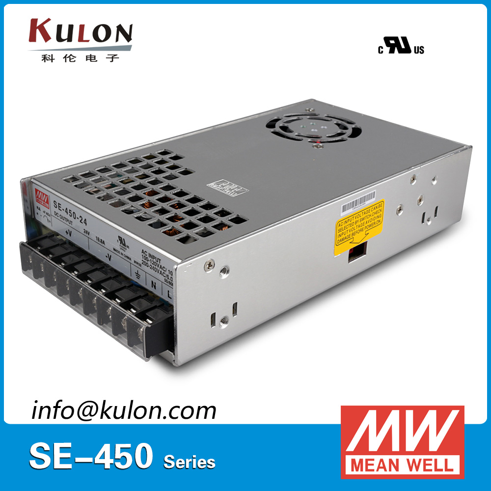 Original MEAN WELL SE-450-24 450W 18.8A 24V Meanwell Power Supply AC 110V/220V to DC 24V SMPS 2 years warranty