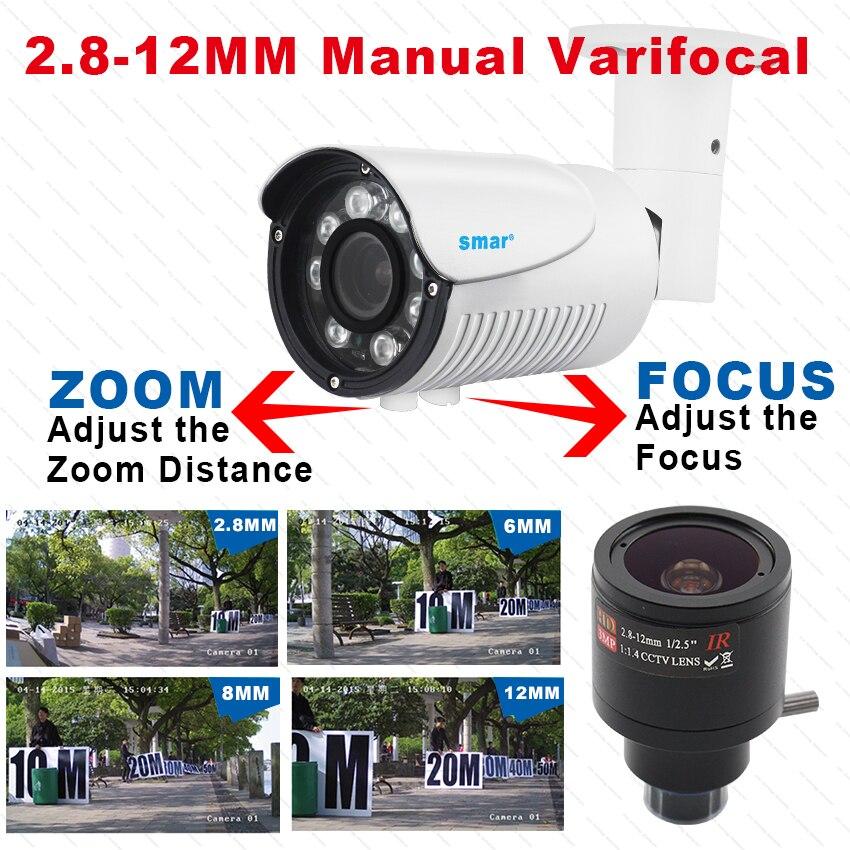 Smar Zoom IP Camera CCTV Home Security Outdoor Camera HD 1080P Manual Varifocal Lens 2.8-12mm H.265 Camera P2P XMEYE View