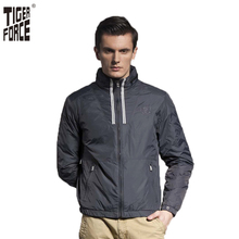Tiger force hohe qualität männer fashion gepolsterte jacke marke frühling baumwolle polsterung jacke stehen kragen reißverschluss kostenloser versand 51062