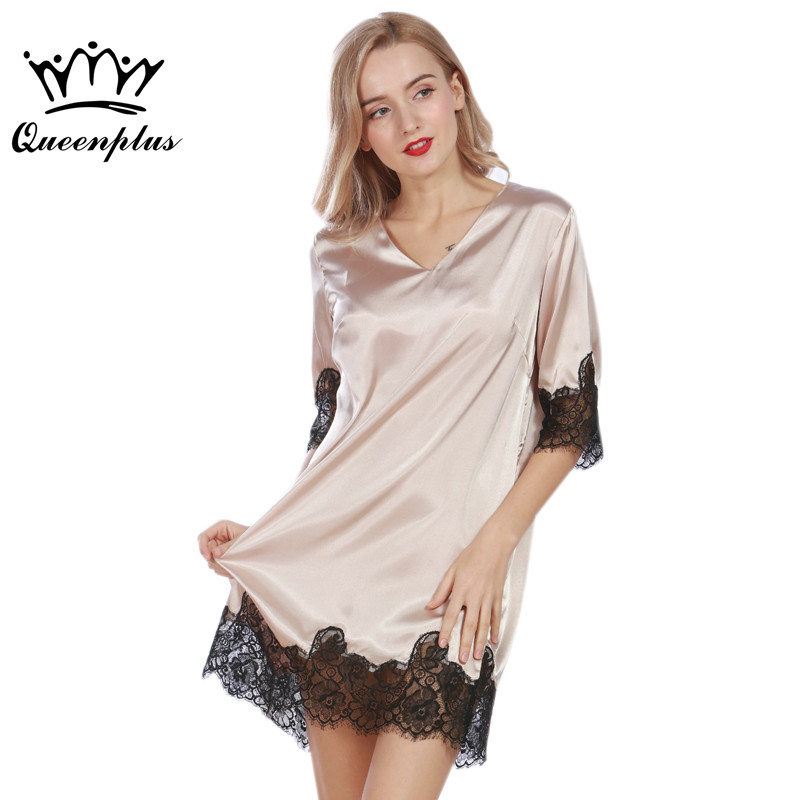 49a9a0a780 Queenplus Lace Women Nightgowns 2017 Designer Summer Faux Silk Ladies Sexy  Dressing Gowns Female Silky Woman Sleep Lounge