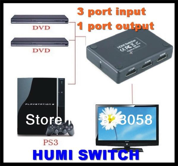 Заводская цена! 3 порта вход/1 порт Выход мини 1080p HDMI выключатель HDMI делитель Коробка для HDTV DVD с пультом дистанционного управления