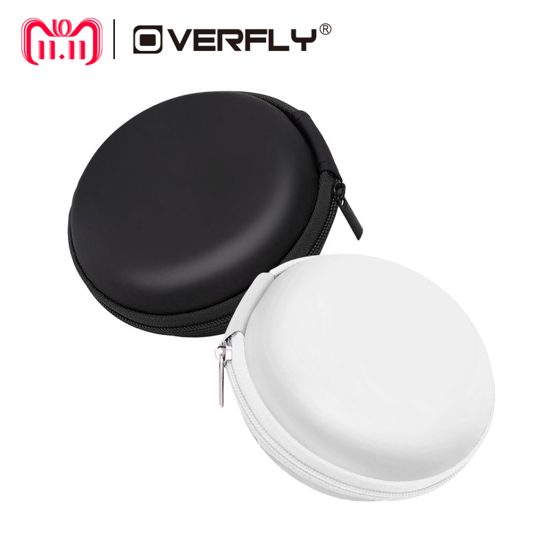 Overfly Portable Case for Headphones Case Mini Zippered Round Storage Hard Bag Headset Box for Earphone Case SD TF Cards
