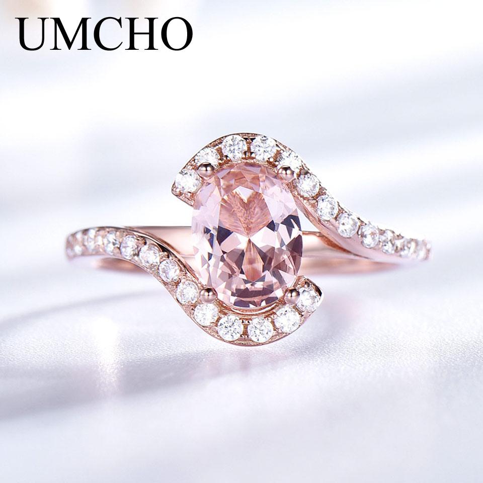 UMCHO Rings Nano 585 Morganite Gemstone Rose-Gold-Color Sterling-Silver Wedding-Band