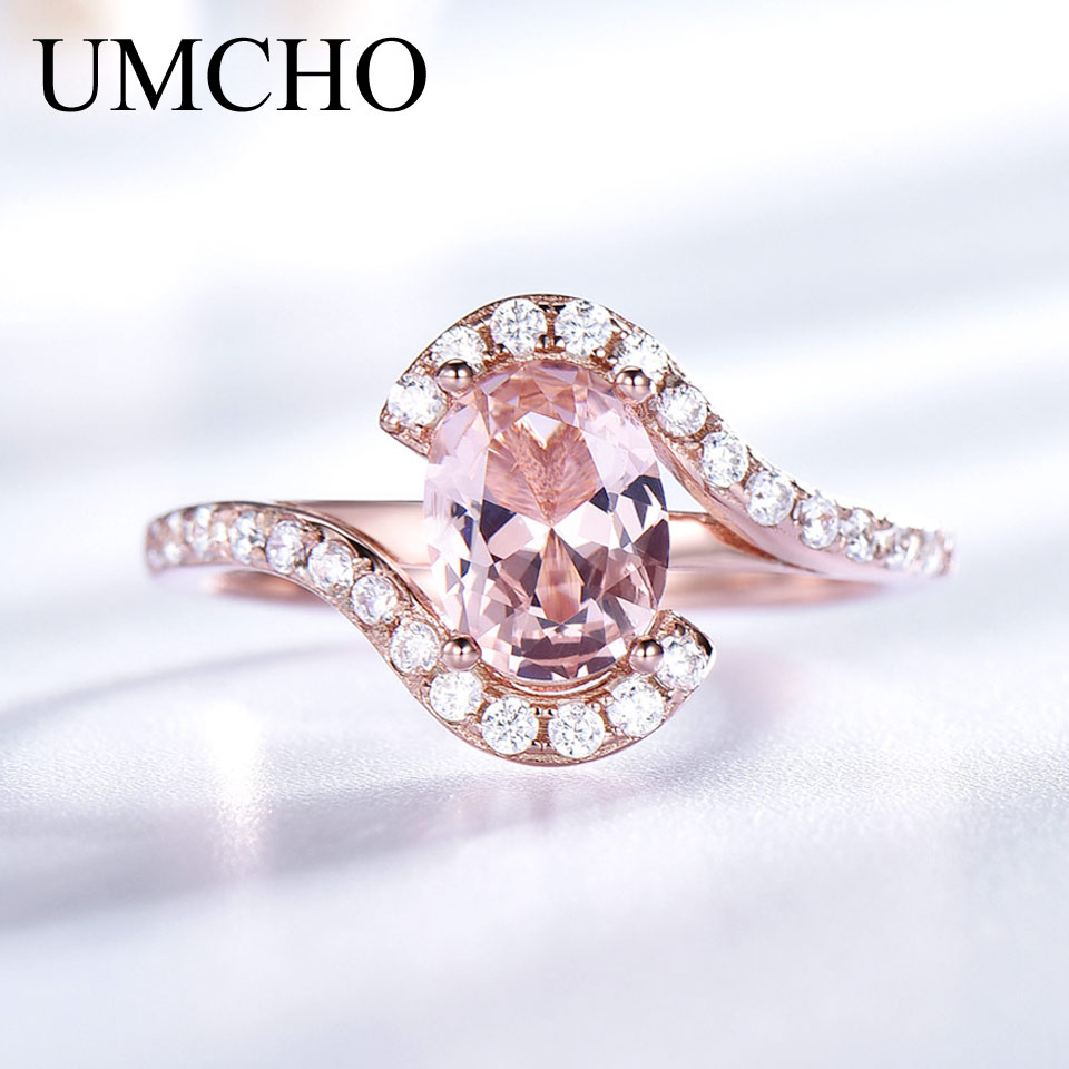 UMCHO Gemstone Nano Morganite Rings For Women Rose Gold Color 585 Solid 9235 Sterling Silver Wedding Band Party Gift For Women